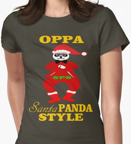★ټOppa Santa-Panda Style Hilarious Clothing & Stickersټ★ Womens Fitted T-Shirt