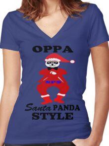 ★ټOppa Santa-Panda Style Hilarious Clothing & Stickersټ★ Women's Fitted V-Neck T-Shirt
