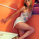 Portrait of beautiful blonde girl posing at the bathroom by Anton Oparin
