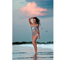Beautiful brunette posing sexy at the tropical beach during sunset time Photographic Print