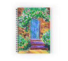 Blue Wooden Door to Secret Rose Garden Spiral Notebook