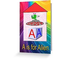 A is for Alien Play Brick Greeting Card