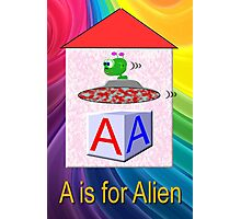 A is for Alien Play Brick Photographic Print