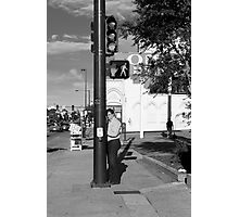 Man at Stop Light Photographic Print