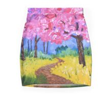 Cherry Trees Field Mustard After the Rain Painting Pencil Skirt