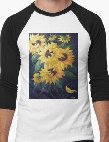 Dancing Sunflowers Men's Baseball ¾ T-Shirt