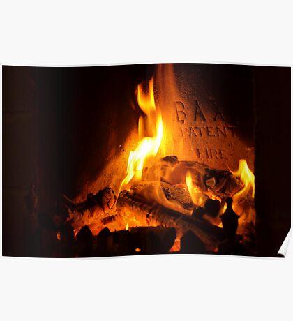 open log fire Poster
