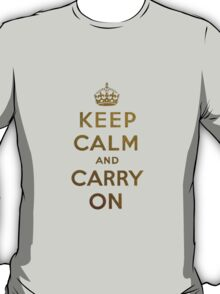 Keep Calm and Carry One Grunge Dark Brown Background T-Shirt