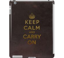 Keep Calm and Carry One Grunge Dark Brown Background iPad Case/Skin