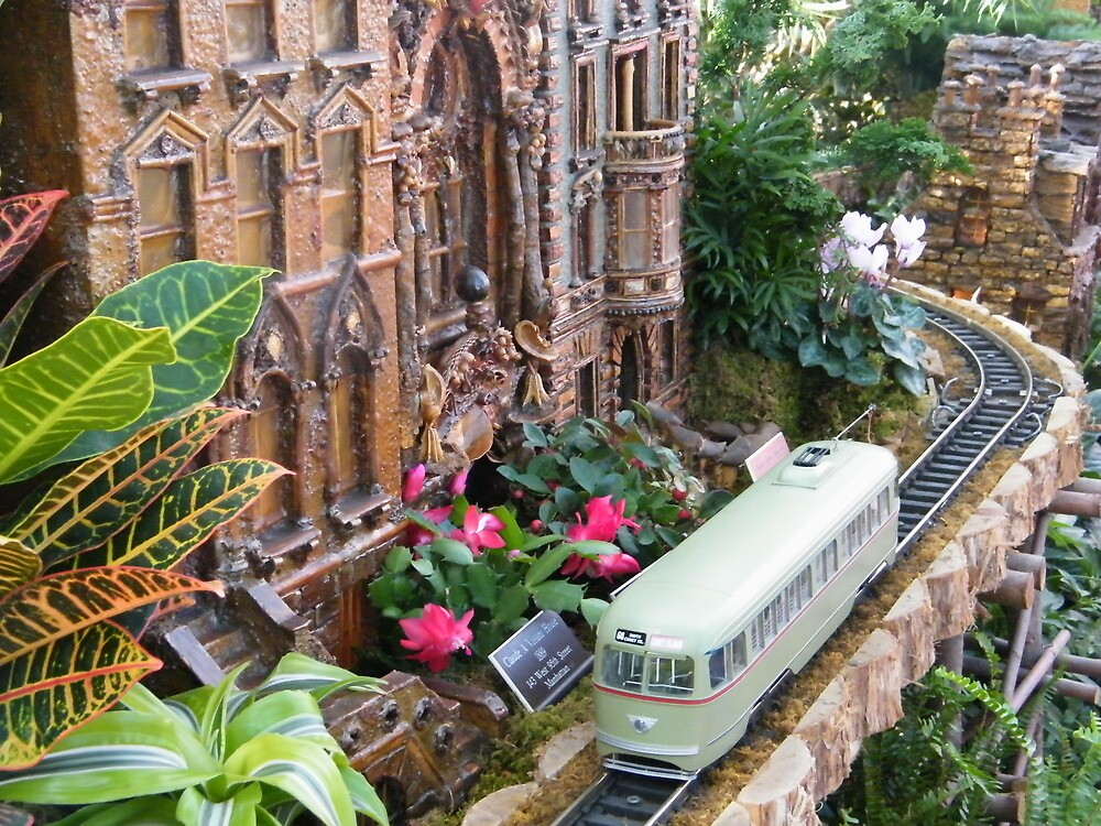 Model Streetcar, Model Building, New York Botanical Garden Holiday Train Show, Bronx, New York by lenspiro