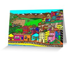 Valparaiso inspired village Greeting Card