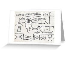 Original Trilogy Line Art Ships Greeting Card
