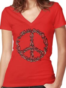 Peace Symbol Made of Mushrooms (red version) Women's Fitted V-Neck T-Shirt