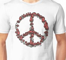 Peace Symbol Made of Mushrooms (red version) Unisex T-Shirt