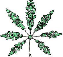 Marijuana Leaf Made of Mushrooms (green version) by Brett Gilbert