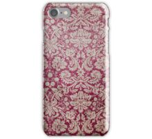 Stained Red Vintage Floral Wallpaper iPhone Case/Skin