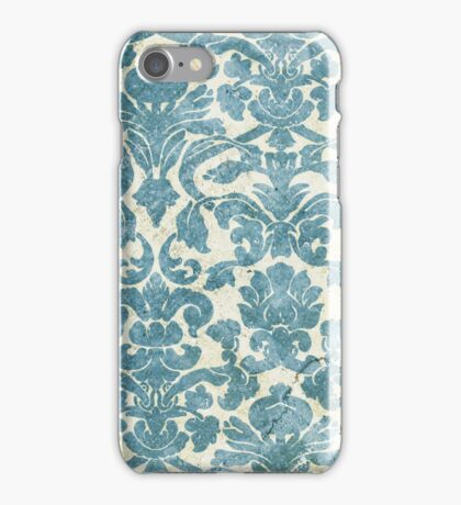 Light Blue Vintage Floral Wallpaper iPhone Case/Skin