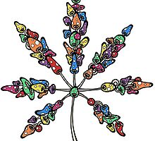 Marijuana Leaf Made of Mushrooms (multi-color version) by Brett Gilbert
