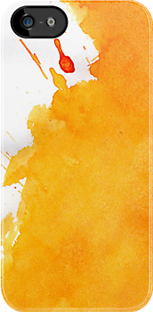 Yellow Watercolors With Invading Red by pjwuebker