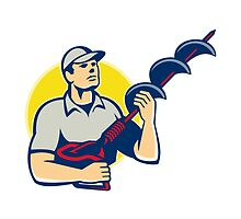 Builder Worker With Hole Driller Auger  by retrovectors