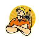 Offshore Oil and Gas Worker Rig Retro  by retrovectors