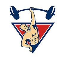 Weightlifter Lifting Barbell Weights Retro  by retrovectors