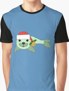 Light Green Baby Seal with Santa Hat, Holly & Gold Bell Graphic T-Shirt