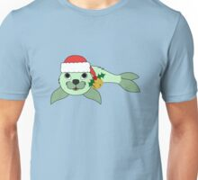Light Green Baby Seal with Santa Hat, Holly & Gold Bell Unisex T-Shirt