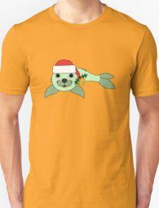 Light Green Baby Seal with Santa Hat, Holly & Gold Bell T-Shirt