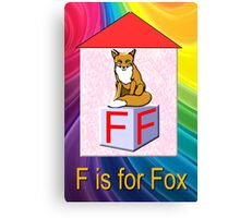 F is for Fox Play Brick Canvas Print