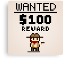 8-bit Wanted Poster Canvas Print
