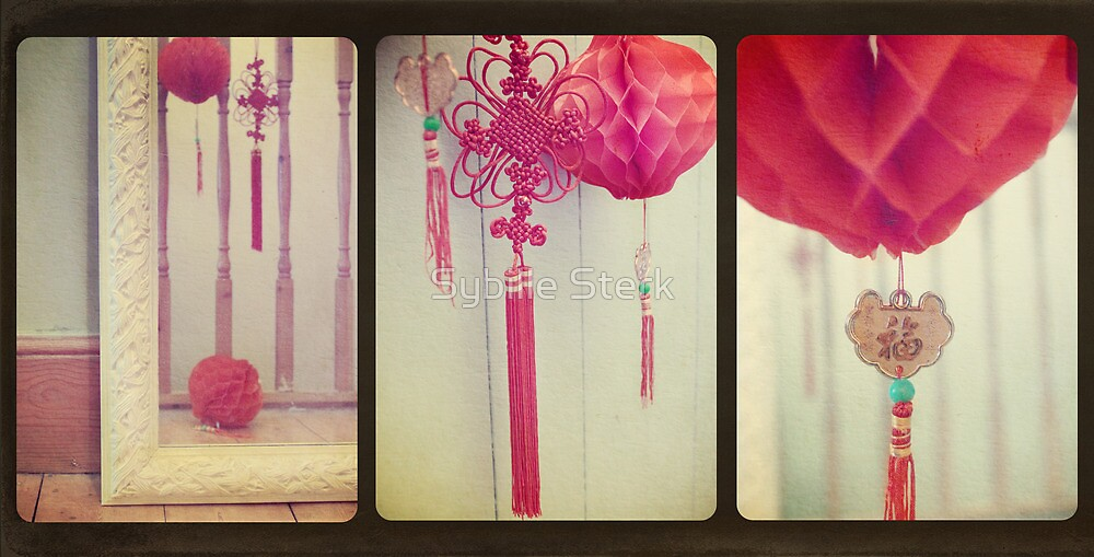 Chinese Lanterns Triptych by Sybille Sterk