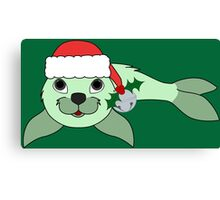 Light Green Baby Seal with Santa Hat, Holly & Silver Bell Canvas Print