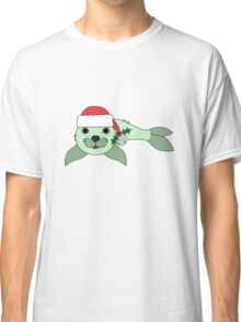 Light Green Baby Seal with Santa Hat, Holly & Silver Bell Classic T-Shirt