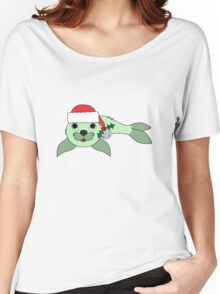 Light Green Baby Seal with Santa Hat, Holly & Silver Bell Women's Relaxed Fit T-Shirt