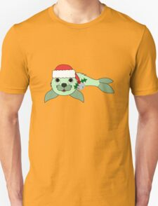 Light Green Baby Seal with Santa Hat, Holly & Silver Bell T-Shirt