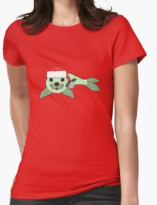 Light Green Baby Seal with Santa Hat, Holly & Silver Bell Womens Fitted T-Shirt