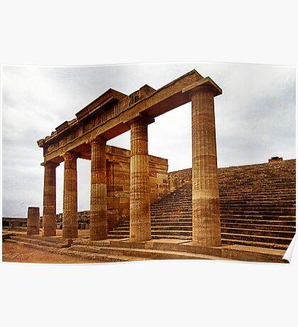 Temple of Athena, Acropolis of Lindos, Rhodes Poster