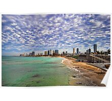 Tel Aviv turquoise sea at springtime Poster