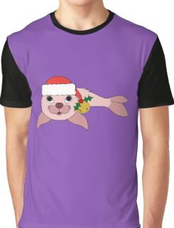 Light Pink Baby Seal with Santa Hat, Holly & Gold Bell Graphic T-Shirt