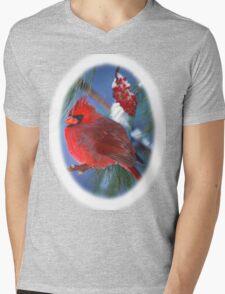 Male Cardinal Sumac Branch Winter T-Shirt