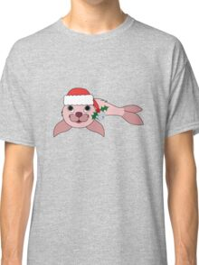 Light Pink Baby Seal with Santa Hat, Holly & Silver Bell Classic T-Shirt