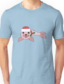 Light Pink Baby Seal with Santa Hat, Holly & Silver Bell Unisex T-Shirt