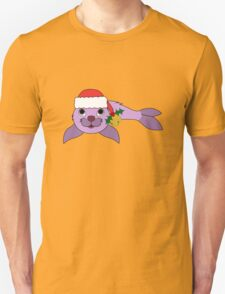 Light Purple Baby Seal with Santa Hat, Holly & Gold Bell T-Shirt