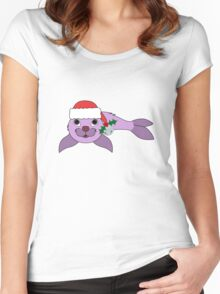 Light Purple Baby Seal with Santa Hat, Holly & Silver Bell Women's Fitted Scoop T-Shirt