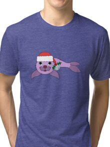 Light Purple Baby Seal with Santa Hat, Holly & Silver Bell Tri-blend T-Shirt