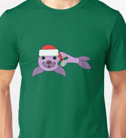 Light Purple Baby Seal with Santa Hat, Holly & Silver Bell Unisex T-Shirt