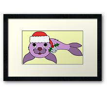 Light Purple Baby Seal with Santa Hat, Holly & Silver Bell Framed Print