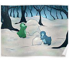 Penguins Building a Snow-Guin Poster