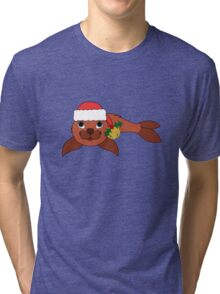 Red Baby Seal with Santa Hat, Holly & Gold Bell Tri-blend T-Shirt